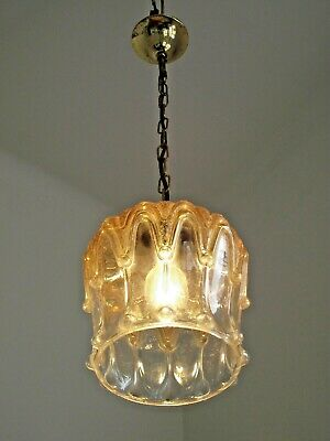 Vintage French Decorative Clear & Amber Glass Shade Pendant Ceiling Light 1532