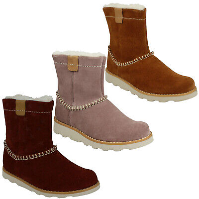Girls Toddler Kids Clarks Crown Piper Zip Casual Warm Winter Boots Suede Size