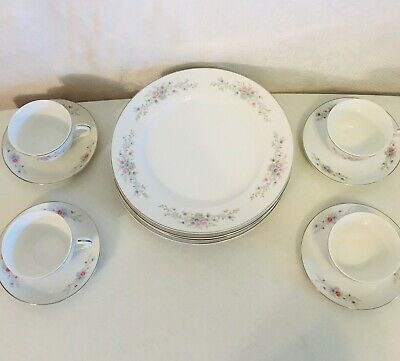 SET OF 4 FANTASIA Florenteen Fine China DINNER PLATES COFFEE CUPS and SAUCERS