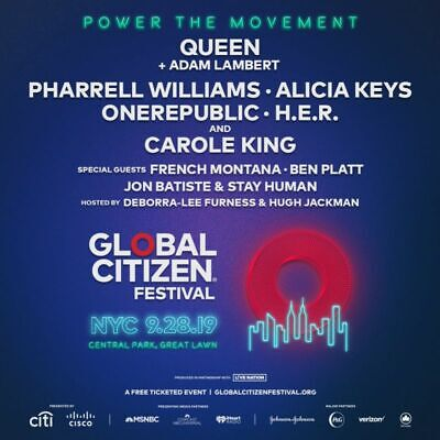 GLOBAL CITIZEN FESTIVAL FEST Ticket Tix GA General Admission Central Park NY NYC