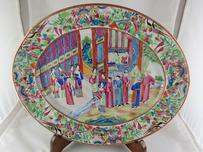 Antique Chinese Hand Painted Canton Famille Rose Porcelain Oval Tray, Circa 1820