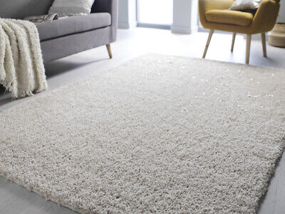 Super Soft Ivory Cream Luxurious Deep Pile Shaggy Indulging Rugs Little Sparkly