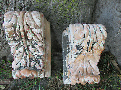 Antique Gorgeous Architectural Salvage Pair Chunky Terra Cotta Corbels  Stamped