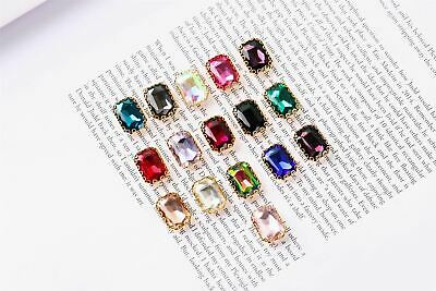 Coloured Large Rectangular Rhinestones in Setting SEW ON METAL BACK Silver 20mm