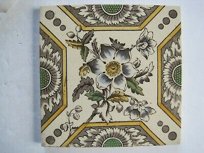 Antique Victorian Floral Print And Tint Wall Tile J&W.wade  C1884-1904