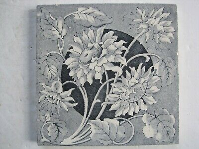 Antique Victorian Transfer Print Blue Floral Wall Tile - Brown, Westhead, Moore?