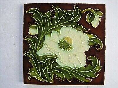 Antique Pilkingtons Moulded & Glazed Art Nouveau  Design Wall Tile C1894