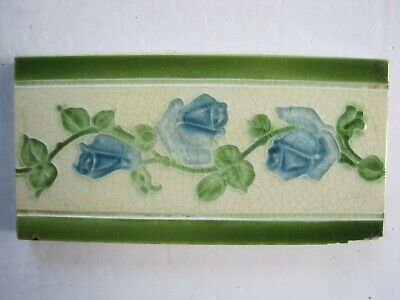"ANTIQUE 6"" x 3"" MOULDED MAJOLICA GLAZED BLUE ROSES BORDER TILE"