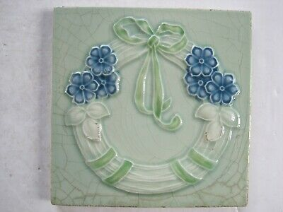 Antique Marsden Moulded & Glazed Art Nouveau Wreath Design Wall Tile