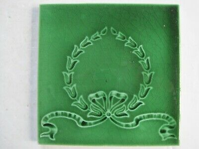 Antique Corn Bros Moulded & Majolica Glazed Art Nouveau Wall Tile C1898-1904