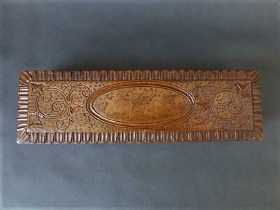 Antique Black Forest Wooden Box Carved Detailing - Oblong Box Good Patina