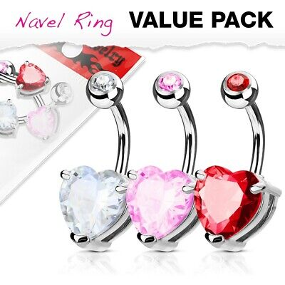 Wholesale Lot 3 x Surgical Steel 10mm Solitaire Heart Gem Crystal CZ Belly Bars