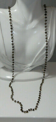 """Faceted Smoky Quartz Stone Wired Bead Strand 36"""" Long Necklace 9c 85"""