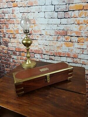 Antique Anglo Indian Teak and Brass Banded Small Glove Box With Drawer