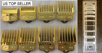 Gold Hair Clipper Guides Combs Guards 8 pcs Metal Clip Plus Holder