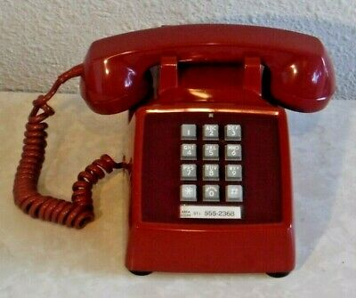 Bell System Western Electric Push Button 500 Series Desk Set Telephone in RED