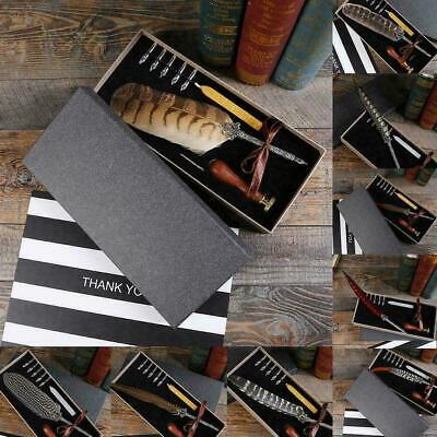 Antique Gift Box Goose Feather Writing Quill Pen Calligraphy Pen Set Gift R A2Y5
