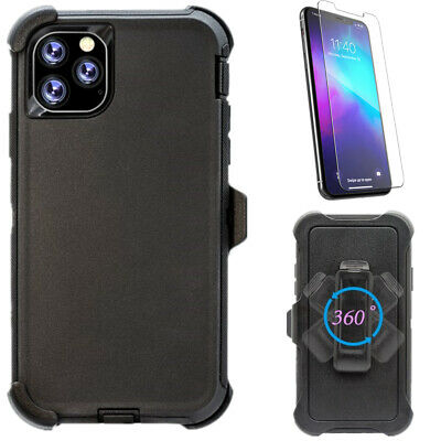 For iPhone 11 11 Pro Max Black Case W/Screen & Belt Clip Fits Otterbox Defender