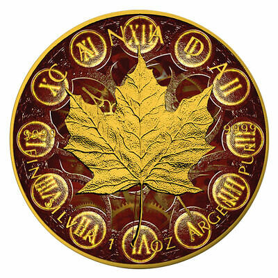 2018 1 oz Canada Maple Leaf .9999 Colorized MECHANIKA Gold Gilded COA
