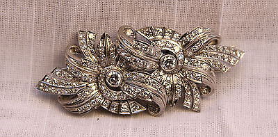 Magnificent French Art Deco Diamond Platinum Double Clip-Brooch