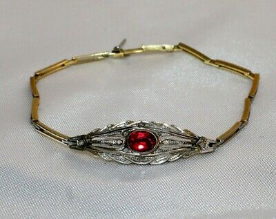 Magnificent French Art Deco 14K White & Rose Gold Diamond Ruby Bracelet