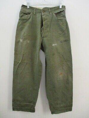 Vintage WWII US NAVY Green Trousers Pants Stencil Button Fly Tag Size 34 X 31