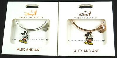 Alex and Ani Disney 2 Bracelet SET Classic Mickey Mouse Stand Rose Gold & Silver