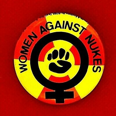 WOMEN AGAINST NUKES 1978 Feminist Resources On Energy & Ecology Protest button