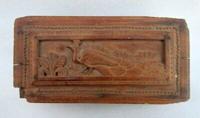 Vintage Old Collectible Hand Carved Beautiful Peacock Figure Wooden jewelry Box