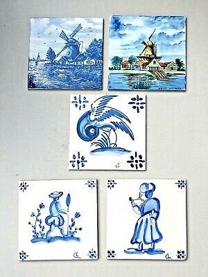 Vintage Tiles, 2 Dutch and 3 Portuguese Delft Style Tiles.