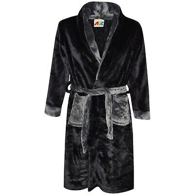 Kids Boys Girls Bathrobe Plain Black Dressing Gown Night Lounge Wears 2-13 Yrs