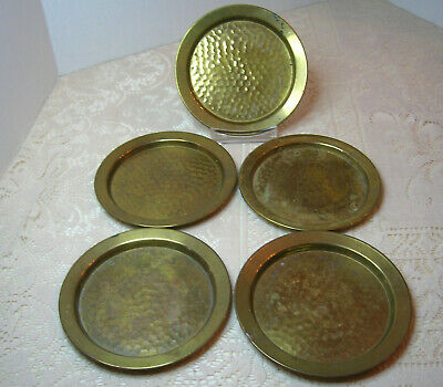 Vintage Lot of 5 Hammered Brass Plates 5 ½ inches Diameter (No makers mark)