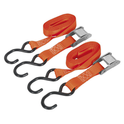 Td2525Cs Sealey Cam Buckle Tie Down 2.5Mtr Polyester Webbing With S Hooks 250Kg
