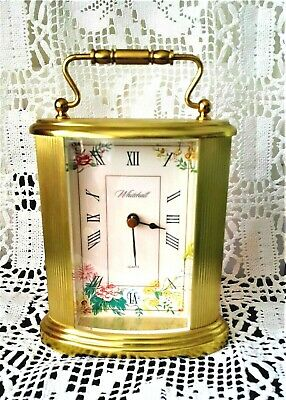 Brass Clock  Mantle - Carriage by WHITEHALL Flowered Face Quartz - Antique Style