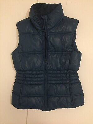 Girls Gilet Waistcoat Age 11-14 Turquoi Green Hooded Padded Very Waisted Quilted