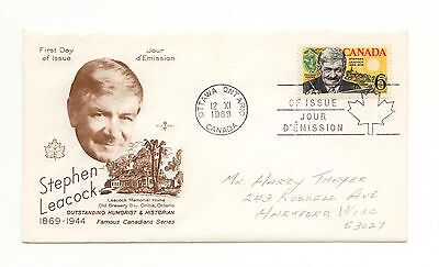 Canada FDC #504 Stephen Leacock 1969 Rose Craft E274