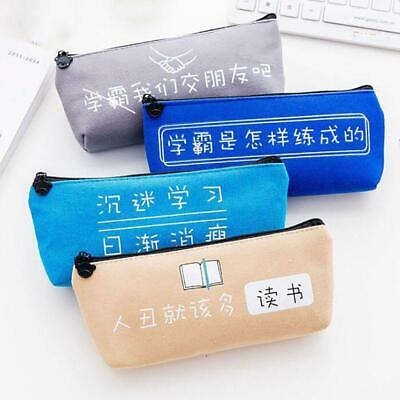 Special Style Large Capacity Canvas Pen Bag Box Pencil Case For Students FW