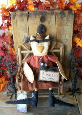 """PriMiTiVe Halloween Owl Witch Art Doll Pet Black Cat Welcome """"Hooty and Boo"""""""