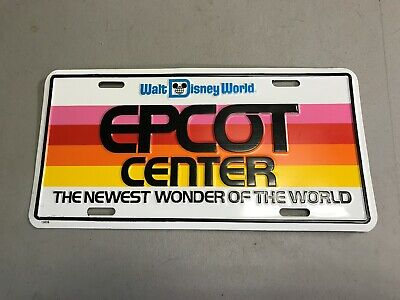 Vintage License Plate For Epcot Center Opening In 1982, Walt Disney World
