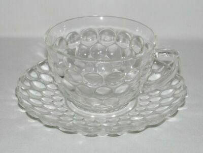 Anchor Hocking BUBBLE Crystal Cup and Saucer Set