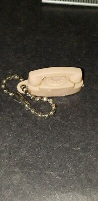 Vintage Tan Phone THE PRINCESS Telephone KEY CHAIN 1960S TOY CELLULOID CHARM