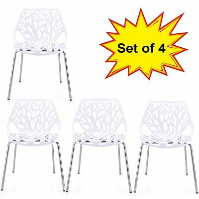 Modern Dining Chairs (Set of 4) White Chairs, KID-FRIENDLY Birch Chairs