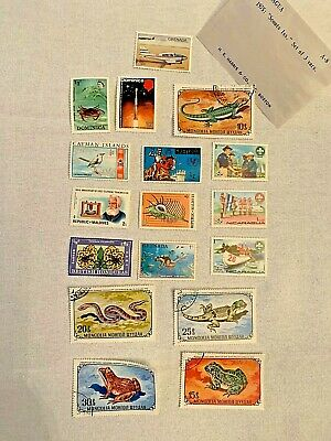 Set Of 17: Vintage Worldwide Stamps: Mongolia; Maldives; Nicaragua; Dominica etc