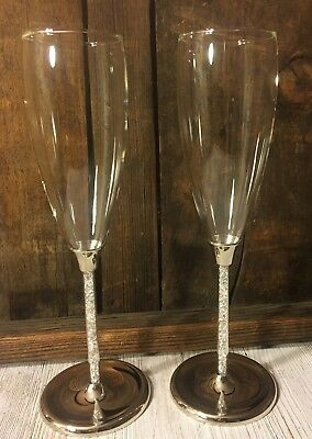 Wedding Champagne Toasting Flutes with Crystal Diamond Stems, Set of 2 Glasses