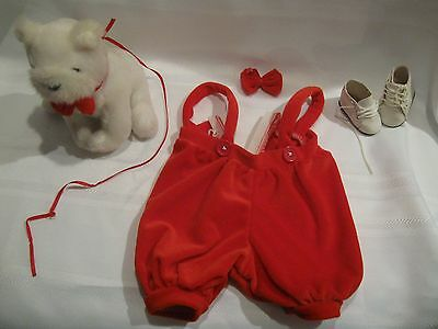 No Doll Just 2 Shoes - Dog  - Bowtie - And Pants / Jumper - No Shirt - Clothes