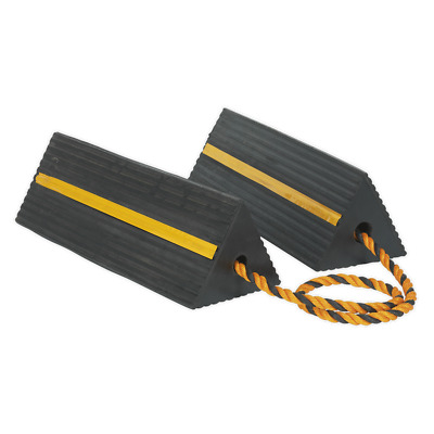 WC11 Sealey Heavy-Duty Rubber Wheel Chocks 8kg - Pair [Ramps & Chocks]