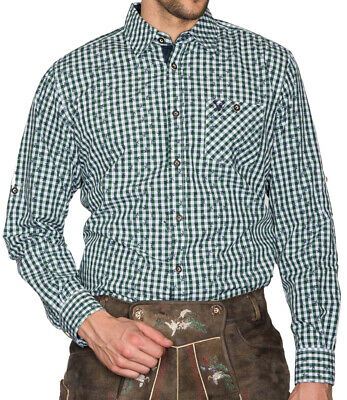Krüger Men's Traditional Shirt Green Checkered Hirsch Slimfit Costume% Sale %