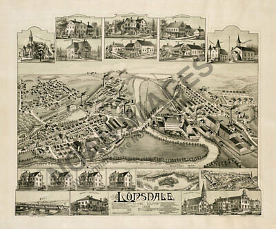 Map of Lonsdale Rhode Island c1888 24x20