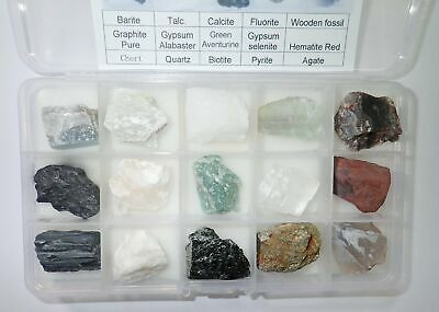 15 Mineral Collection Set F MSS15F Plastic Box Education Natural Stone Specimen