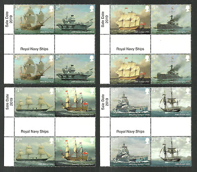 Gb 2019 Royal Navy Ships Military Victory Beagle Mary Rose Gutter Pairs Set Mnh